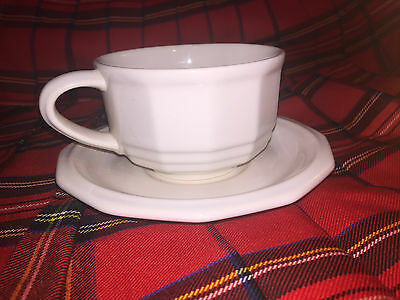 Pfaltzgraff Heritage White Coffee Soup Cup & Saucer