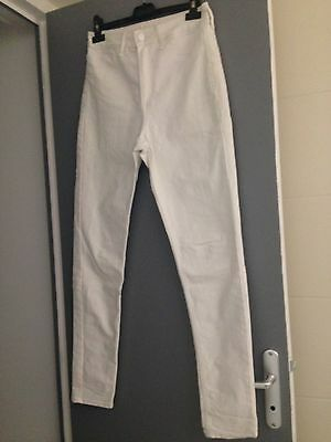 Jeans Femme H&M Blanc Taille 38 Taille Haute Skinny Slim Neuf