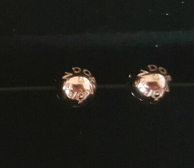Pair Of Genuine Pandora Rose Gold Plated Signature Logo Clips In Gift Box