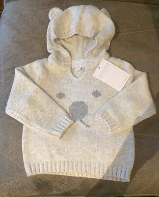 The Little White Company Brand New Jumper Bear Ears 3-6 Months Soft Grey Baby