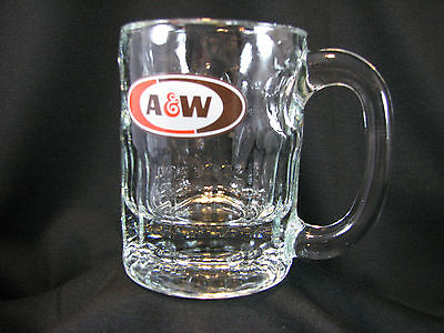 """A & W Root Beer - Small Glass Mini Dimple MUG, 4-1/4"""" Tall ~ Oval Logo"""