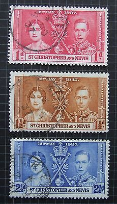 St. Kitts And Nevis 1953 Coronation Set Sg65 To 7  Used