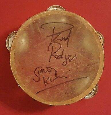 Bad Co. signed tambourine Free Paul Rodgers Simon Kirke in person proof