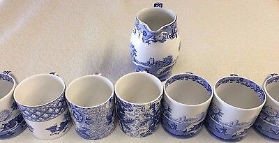 Spode Blue Italian mugs and jug 8piece set