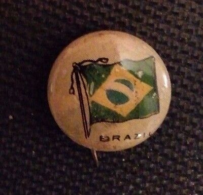 RARE 1917 Flag of Brazil Pin - Sealect A Dairy giveaway - 99 yrs old