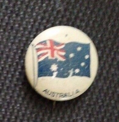 RARE 1917 Green Duck Flag of Australia Lithograph Pinback - 99 Years Old