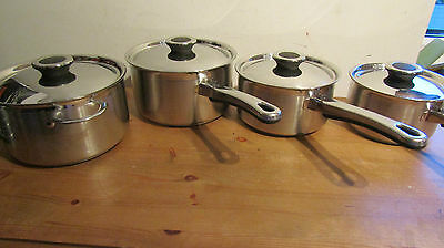 Marks & Spencers Set of 4 Quality Stainless Steel Saucepan Set in Ex.Condition