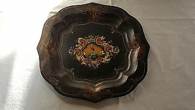 Toleware painted black tin vintage Victorian antique tray / platter
