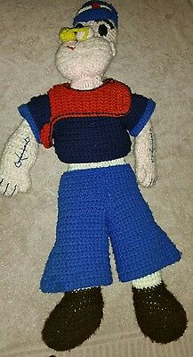 Popeye The Sailor Man Crotchet Home Made Vintage 1980's Doll