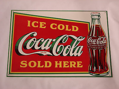 Ice Cold Coca Cola Sold Here Metal Coke Sign with 1923 Bottle