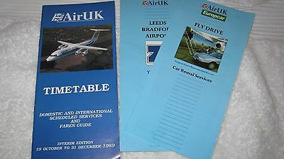 Air UK Timetable & Airport Info 1989