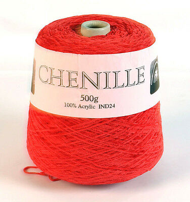 Machine or hand knitting cone -  500g Red Chenille