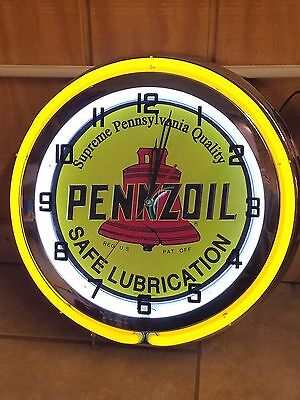 "18"" PENNZOIL Safe Lubrication Sign Double Neon Clock With High Quality Embossed"