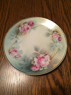 E Sclegelmilch Prussia Hand Painted Pink Roses Decorator Plate