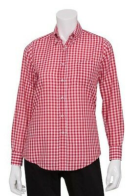 Chef Works W500 Women's Oxford Shirt, X-Small, Red