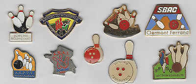 Lot de 9 Pin's Bowling - differents clubs