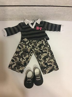 American Girl Bitty Twin Boy Outfit-  Camo Pants, Top, Shoes- VHTF!