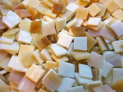 """100 1/2"""" Caramel Creme Tumbled Stained Glass Mosaic Tiles, Tile"""