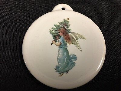 Fiesta Christmas Ornament Angel on White