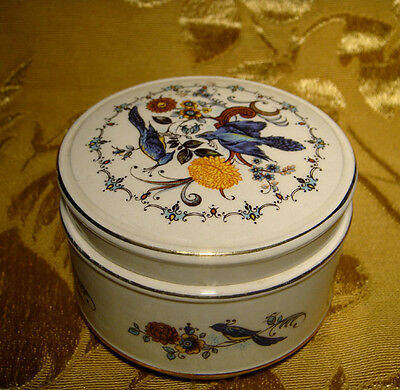 Sadler Blue Bird Lidded Canister Box Floral Made In England