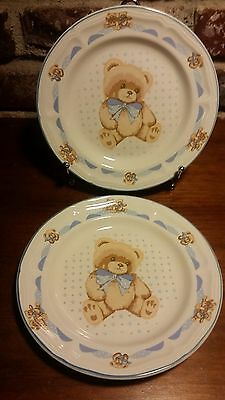 "Tienshan THEODORE BEAR Salad plate set of 2, 7 3/4"",  Teddy Bear Blue, Ribbon"