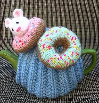 Eek! Mouse In The Doughnuts Hand Knitted Tea Cosy. 4-6 Cup Size