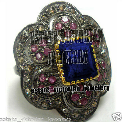 Victorian Estate 2.78Cts Rose Cut Diamond Gemstone Sterling Silver Jewelry Ring