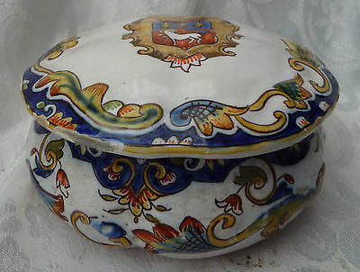 large rouen crested pot french faience french breton quimper storage display