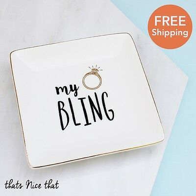 My Bling Trinket Jewellery Dish Fun Gift Ring Necklace Key For Her Gold Cute Mum