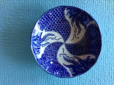 Vintage  Japanese Blue & White  Porcelain Bowl 5.75""