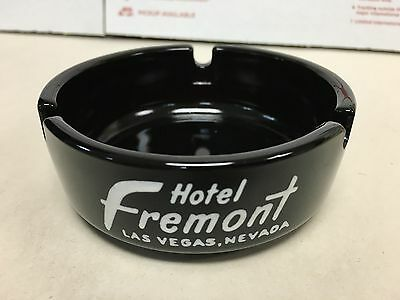 Hotel Fremont Casino Black Glass Ashtray Las Vegas Nevada- EXCELLENT Condition