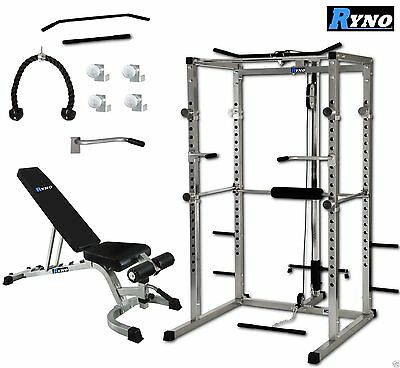 Ryno Power Rack Squat Cage Weight Bench Combo Package Machine Pull Up Multi Gym