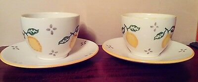 2 Laura Ashley Hand Decorated Cups & Saucers - Summer Fruits - Lemons UNUSED