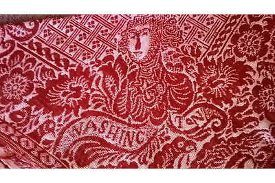 Red and White George Washington Coverlet -- dated 1871; 72 by 65 inches