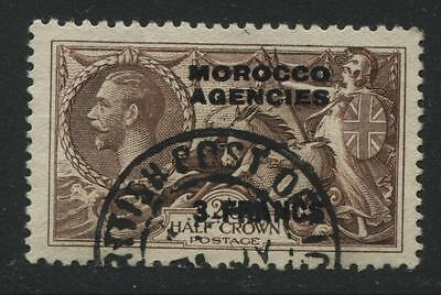 Morocco Agencies: 1935 3 francs on 2/6d Sea Horse stamp SG225 Used SS040