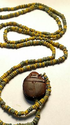 "Wonderful Egyptian Pharaoh's Necklace, Mummy Beads Terracotta 28"", Scarab Amulet"