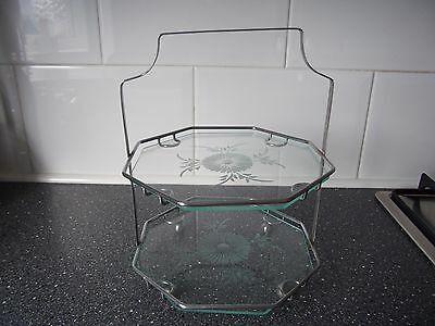 Vintage etched glass and chrome hexagonal 2 tier cake stand