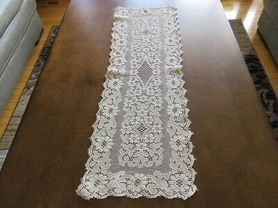 """Vintage Lace Doily Runner - Ivory - 31"""" By 11"""""""