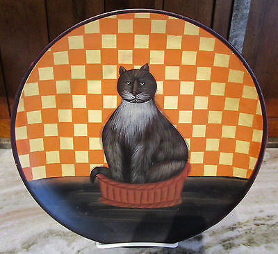 Handpainted Cat Collector Plate Bayberry Co. Keepsake Kitten Lady Black Grey Cat