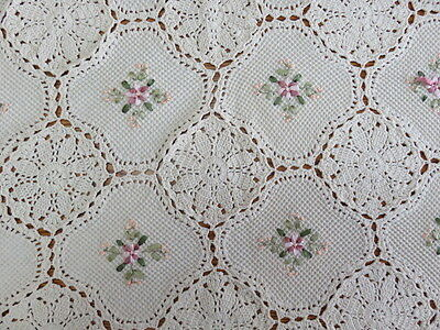 "VINTAGE CROCHET TABLECLOTH - BEIGE - 75"" by 51"""