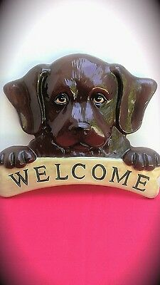 Labador,hanging Welcome Sign Ceramic Plaque.