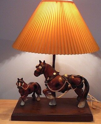 Vintage GILBERT CANADA Horse & Colt  Table Lamp