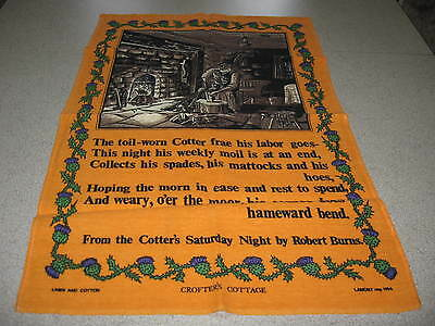 """Collectible Tea Towel - Cotter's Saturday Night - By Robert Burns - 27"""" By 17"""""""