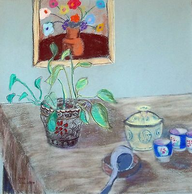 "fine art free shipping-Still Life-19x19"" original pastel painting on paper by JW"