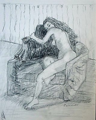"""free shipping-ready to frame-fine art Woman Nude figure drawing  Pencil 14x11""""JW"""