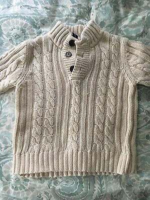 100% Cotton Toddler Cable Knit Sweater Ivory Size 4T