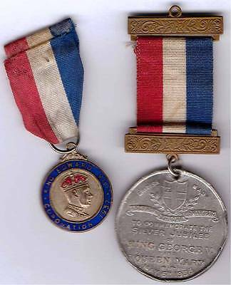 King Edward V111 1937 Coronation plus KGV and Queen Mary's Silver Jubilee medals