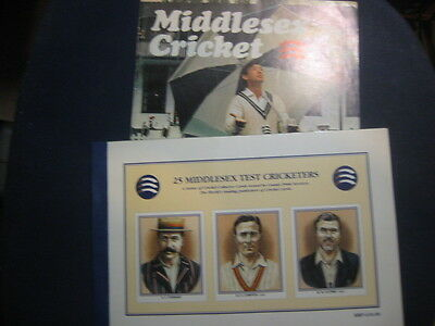 25 X Middlesex Ccc Test Players County Print Cards @ Official Folder  Plus Mag