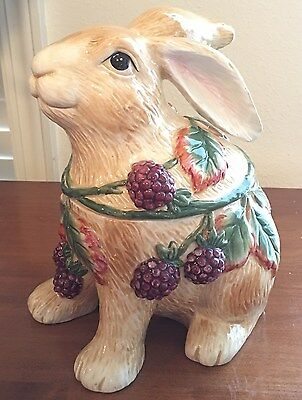 Fitz and Floyd Blackberry Rabbit Bunny Canister Candy Cookie Jar New in Box