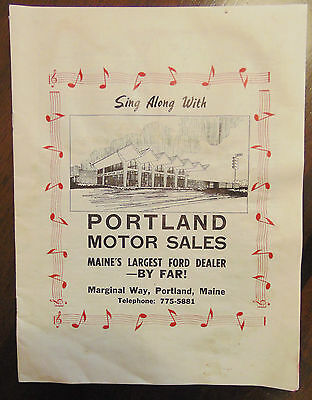 Portland Maine - Portland Motor Sales Maine's Largest Ford Dealer Music Book Ad